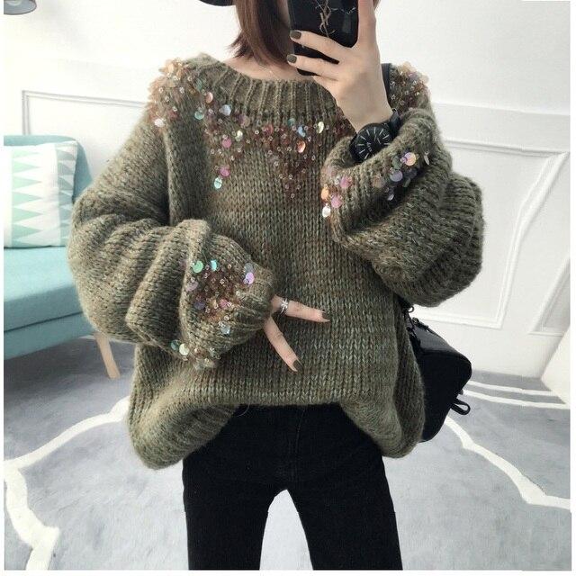 2017 зимние корейские Для женщин Свободный пуловер вязаный теплый Свитеры для женщин женские Повседневное пушистый блесток большой свитер негабаритных Детский комбинезон
