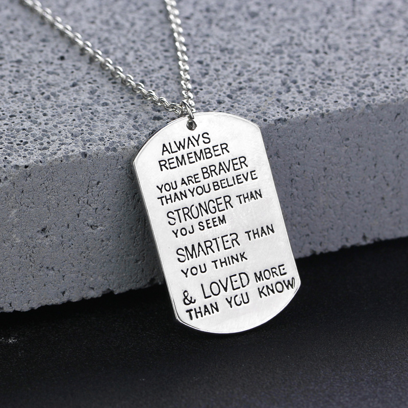 ZN Lettering Always Remember You Are Braver Pendant Inspirational Necklace New Jewelry Gifts