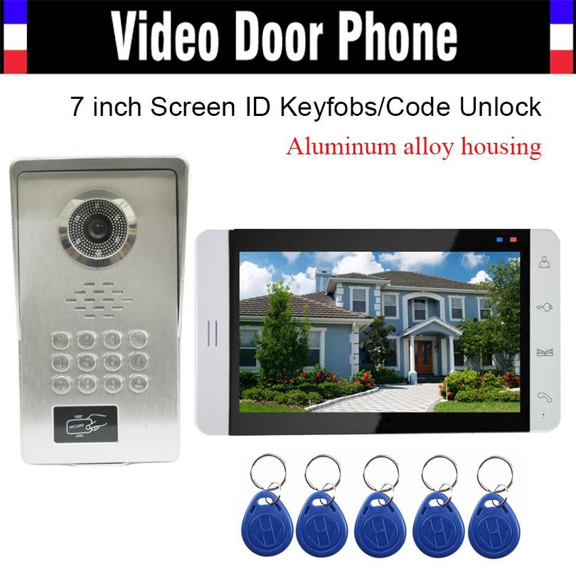 7 Inch Monitor Aluminum Alloy Shell Camera RFID Keyfob Password Unlock Video Door Phone Intercom Door Bell Doorphone Waterproof