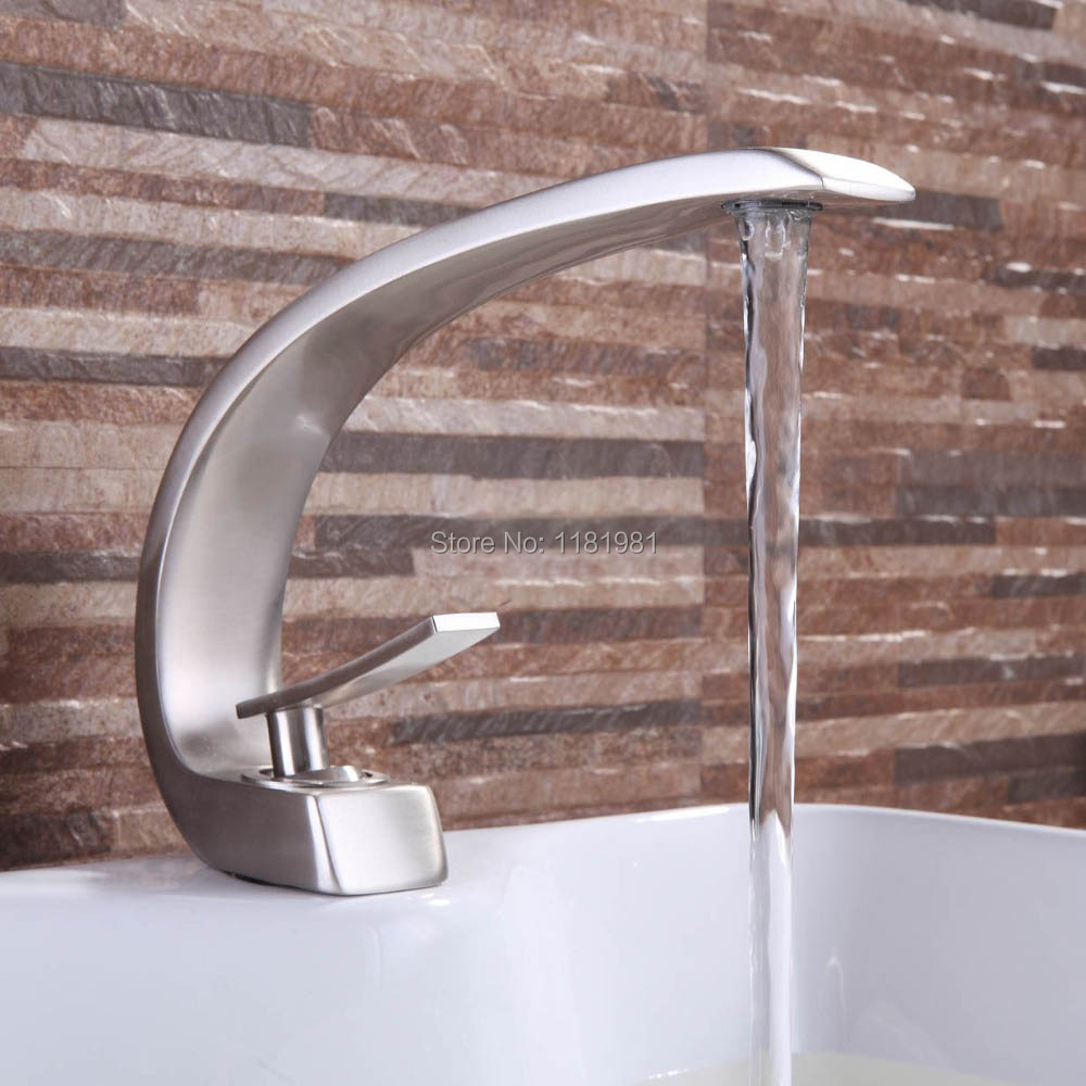 Hot selling Brushed Nickle-plated waterfall water outlet deck mounted basin bathroom faucet S107 цены онлайн