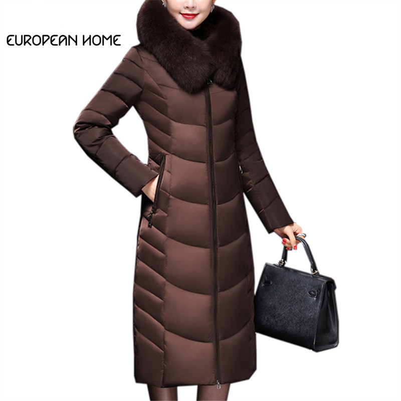 2019 Warm   Down     Coat   Winter Women Clothes Plus Size M~6XL Korean Parkas   Down   Jacket Slim Hooded Thick Fox Fur Collar Long   Coat