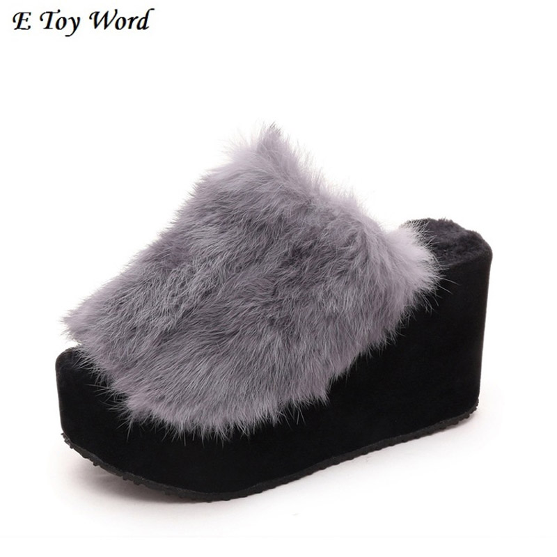 Han edition of new fund of 2016 autumn winters wedges maomao sandals sponge thick high end with the word rabbit hair slippers