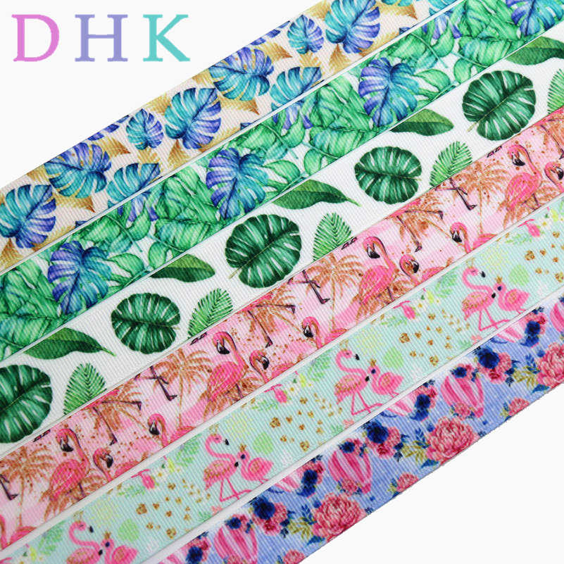 DHK 7/8'' 5yards tropical leaf flamingo balloon printed grosgrain Ribbon Accessory hairbow headwear decoration Wholesale C1573