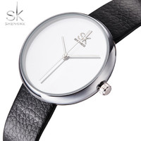 NEW Shengke Top Brand Women Watches Girls Quartz Clock Leather Causal Black White Female Wristwatch Relogio