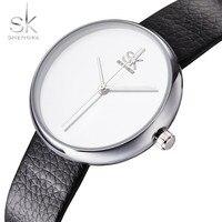 NEW Shengke Top Brand Women Watches Girls Quartz Clock Leather Causal Black White Female Wristwatch Relogio
