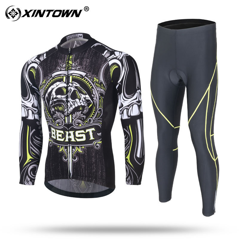 XINTOWN La Casera Bahamontes Retro Cycling Jersey Long Sleeve Sets Spring Sets Autumn Sets 3d Gel Pad Cycling Clothing Bike Wear hot cheji men bike long jersey pants sets hornets black pro team cycling clothing riding mtb wear long sleeve shirts