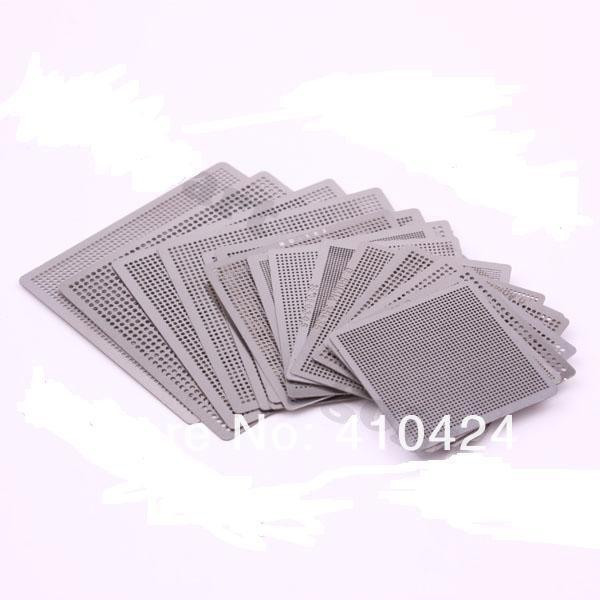 maxgboon 27pcs bga directly heat rework reballing universal stencil template bga reballing kit station 19pcs Directly Heat Rework Reballing Universal Stencil Template Set bga stencils