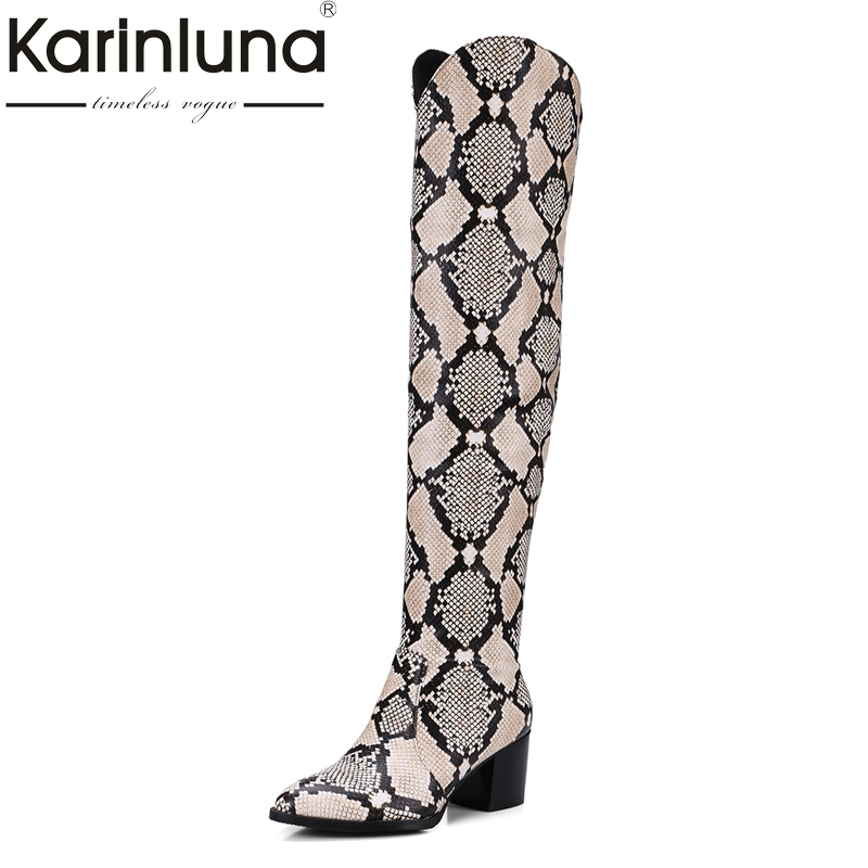 KARINLUNA New Top Quality Plus Size 32-48 Snakeskin Printing Woman Shoes Sexy Square Heels Fashion Slip On Knee High Boots Women knee high boots snakeskin women shoes newest fashion cheap price best quality hot selling new designer luxury special noble