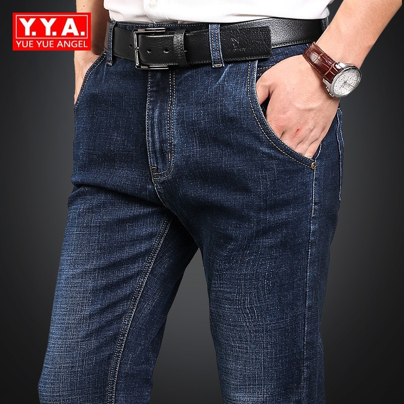 Business Classic Straight Men's Jeans Spring Autumn Denim Overalls Men Loose Fit Stretch Jeans Plus Size 42 Denim Pants Male new afs jeep brand autumn and winter man jeans men pants straight cotton male denim brand jeans more pocket overalls
