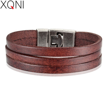XQNI Classic Style Double Layer Toggle-clasp PU Leather Bracelet For Men Black/Brown/Orange Color Male Jewelry Accessories Gift