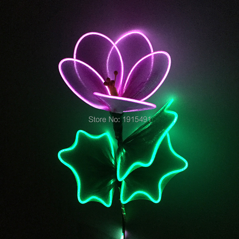 Holiday Gala Performance EL Wire Glowing Product Flower Newstyle Make Up Party New Years Day Lights Led Neon Flickering Hibiscus