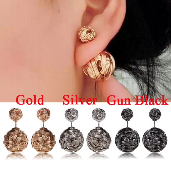 Korean Brand Double Sided Earrings For Women Fashion Iron Stud Gold Plated Ball