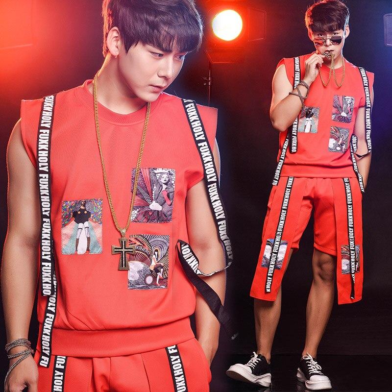 M-6XL!!! 2018 Nightclub bar singer red hip hop buiter vest table costumes suit mens summ ...