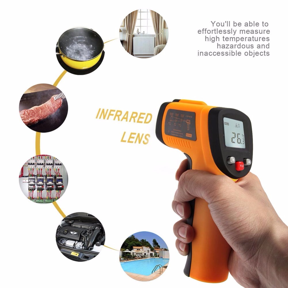DT-500 Handheld Digital LCD -50 to 600 Degree Non-Contact Thermom Gun Pyrometer IR Point Infrared Temperature Tester