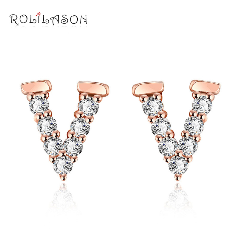 ROLILASON Official Store ROLILASON Birthday party Cubic Zirconia party gift Rose gold color stud earrings for girl jewelry JES1139