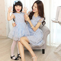 2015Organza Family Matching Outfits Europe Mother and Daughter Dress Mommy and Me Baby party lace Dresses for Girl Free Shipping