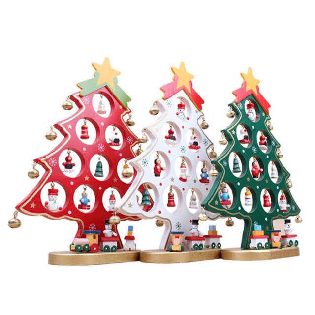 best christmas gift wooden artificial christmas tree ornaments decorations diy mini size home table desk xmas - Wooden Christmas Decorations To Make