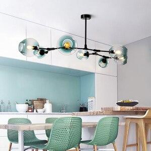 Image 2 - Postmodern LED avize Cam asılı ışıklar İskandinav süspansiyon armatürleri oturma odası asma aydınlatma armatürleri kolye lamba