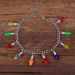 東勝ストレンジャーものクリスマスツリーライトチャーム女の子のためのリンクチェーン腕輪ブレスレット