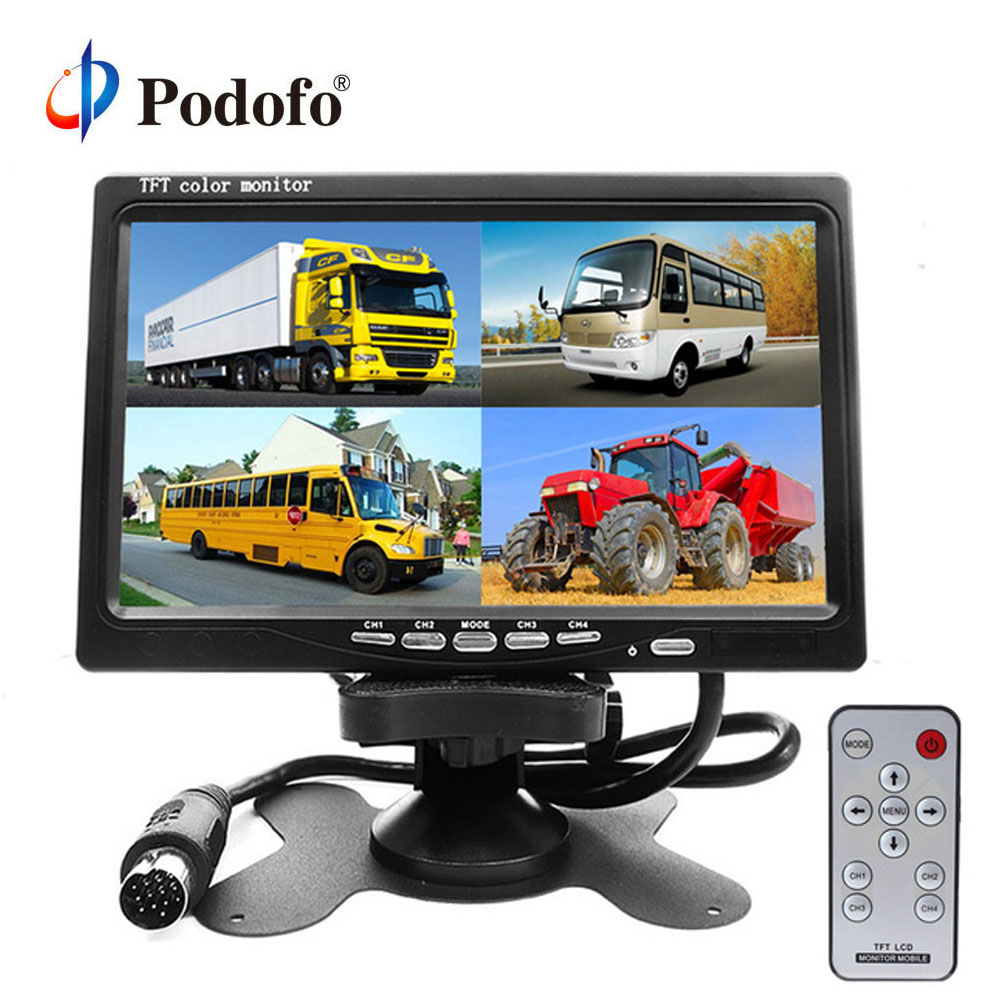 Podofo DC12V-24V 7 LCD 4CH Video input Car Video Monitor For Front Rear Side View Camera Quad Split Screen 6 Mode Display car rear view system 7inch tft colour quad 4ch video input car monitor for reverseing cctv car camera monitor