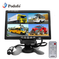 Podofo DC12V 24V 7 LCD 4CH Video input Car Video Monitor For Front Rear Side View Camera Quad Split Screen 6 Mode Display