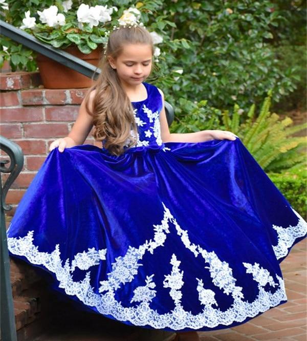 JaneVini Vintage bleu Royal filles robes 2018 blanc Applique velours longue princesse enfants fleur fille robes pour les mariages vacances - 2