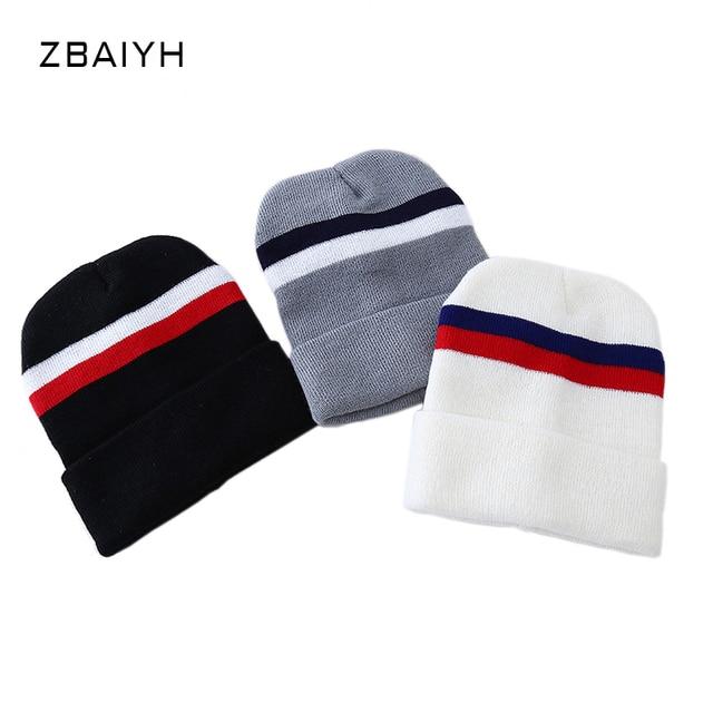 New Brand Knitted Skullies Red/White/Blue Stripes Simple Women Winter Hats gorro Beanies Men Caps Balaclava Bone Bonnet touca