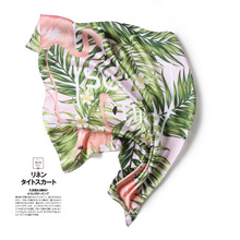Printed Banana leaf Summer Silk Women Square Scarf Striped Chiffon Scarfs Bohemian Print Skinny Female Chiffon Scarf
