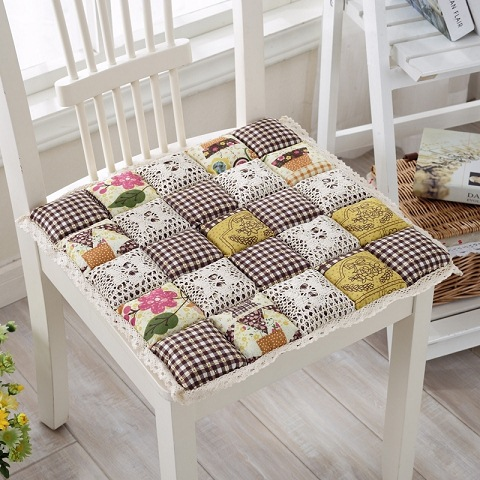 Thickened Square Seat Cushion Modern Dinning Chair Office Cotton Seat Pad Comfortable Computer Chair Cushion Lace Edge Cushion