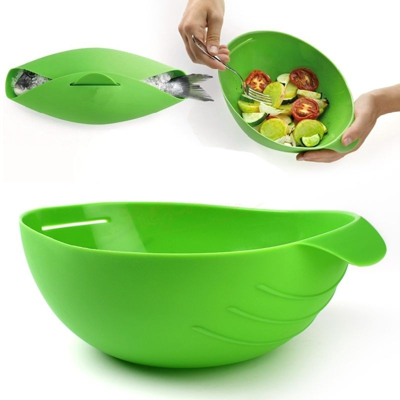 DINIWEL Silicone Folding Bowl Kitchen Cook Tools Microwave Oven Steamer Roaster Bread Cookware Cooker Food Vegetable Basket