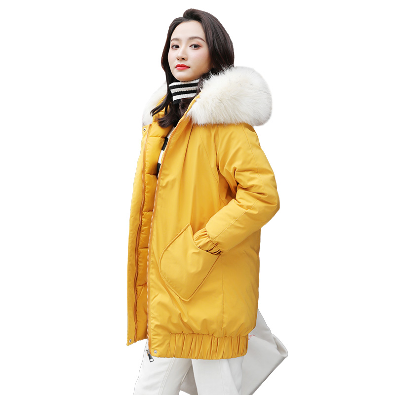 -15 degrees winter mid-long   Parkas   jacket 2019 thick warm hooded big fur collar jacket coat winter   parkas   outwear jacket