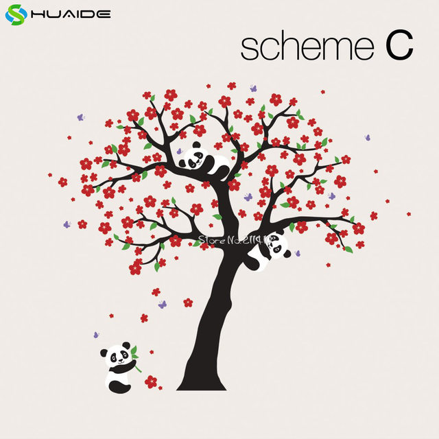Online Shop Cute Panda And Cherry Blossom Tree Wall Decal For Nursery Large Tree  Wall Stickers For Kids Room Girl Boy Room Wall Tattoo A400 | Aliexpress ...