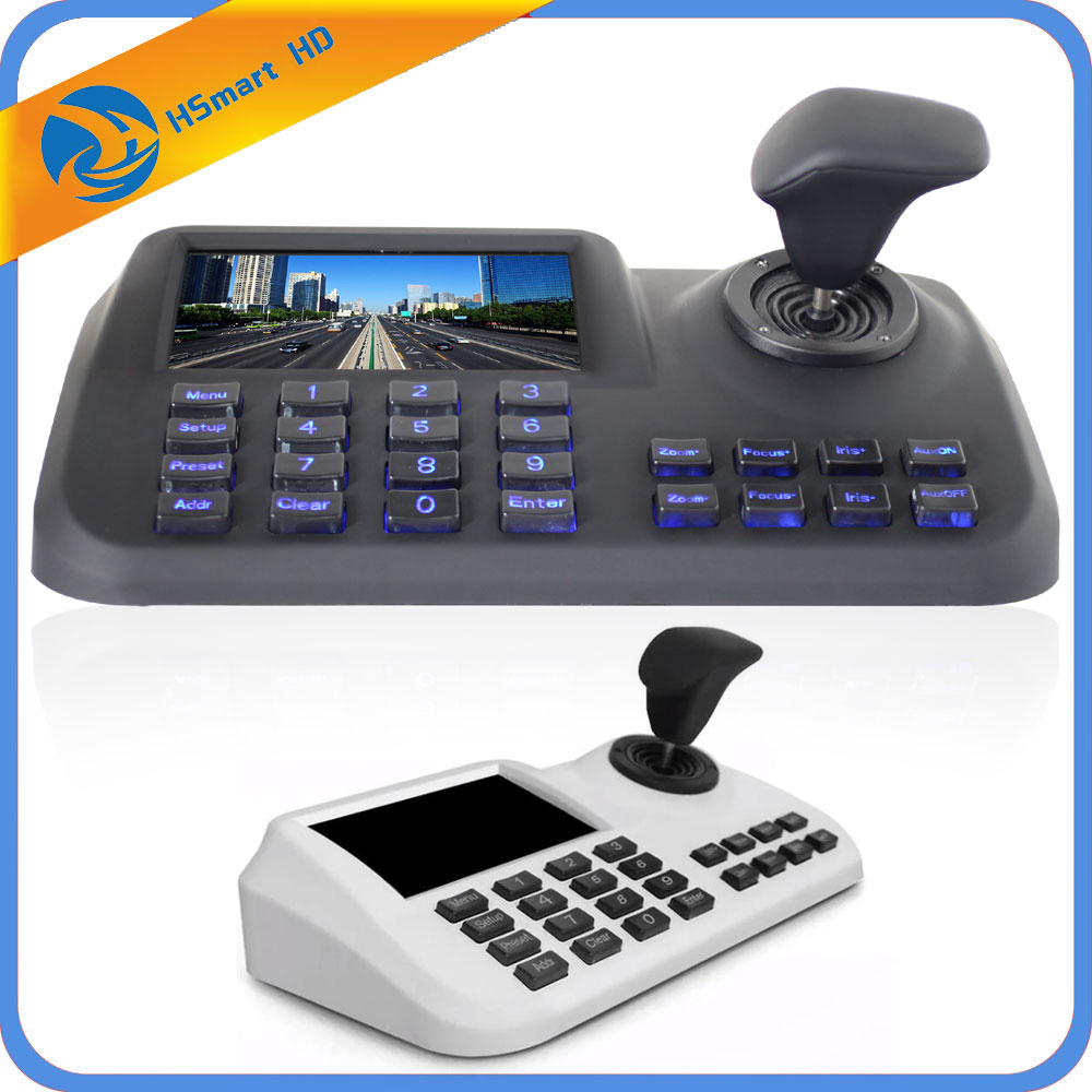 Onvif 3D CCTV IP PTZ joystick controller keyboard with 5 inch LCD screen for IP PTZ Camera-in CCTV Control System from Security & Protection