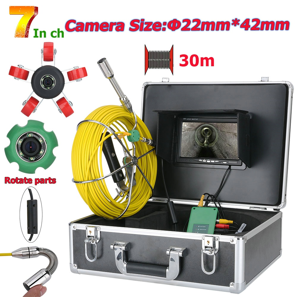 MOUNTAINONE 7inch 22mm Drain Pipe Sewer Inspection Camera System 20M 30M 40M Waterproof Camera 1000 TVL With 6W LED