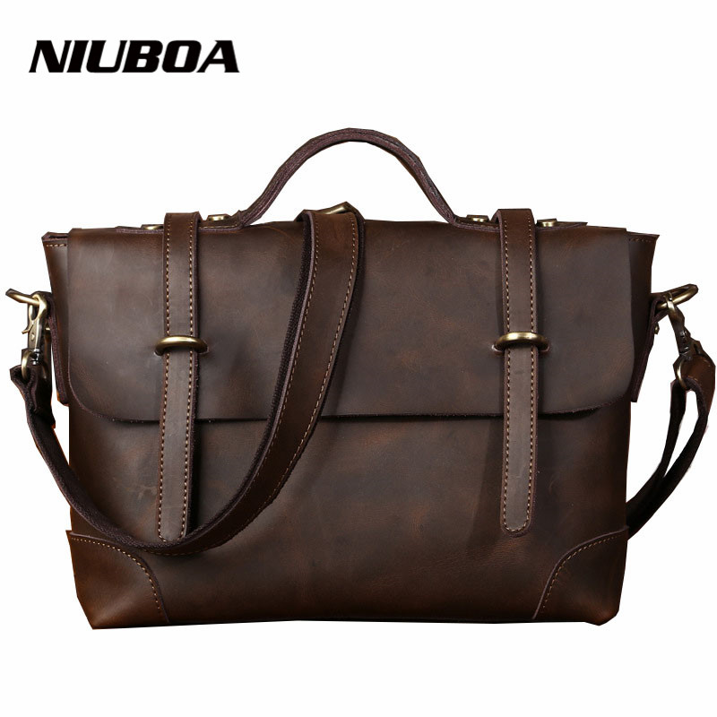 Men Genuine Leather Tote Bags Affordable Crazy Horse Leather Hobo Crossbody Bag Cool Boy Satchels Messenger Bags