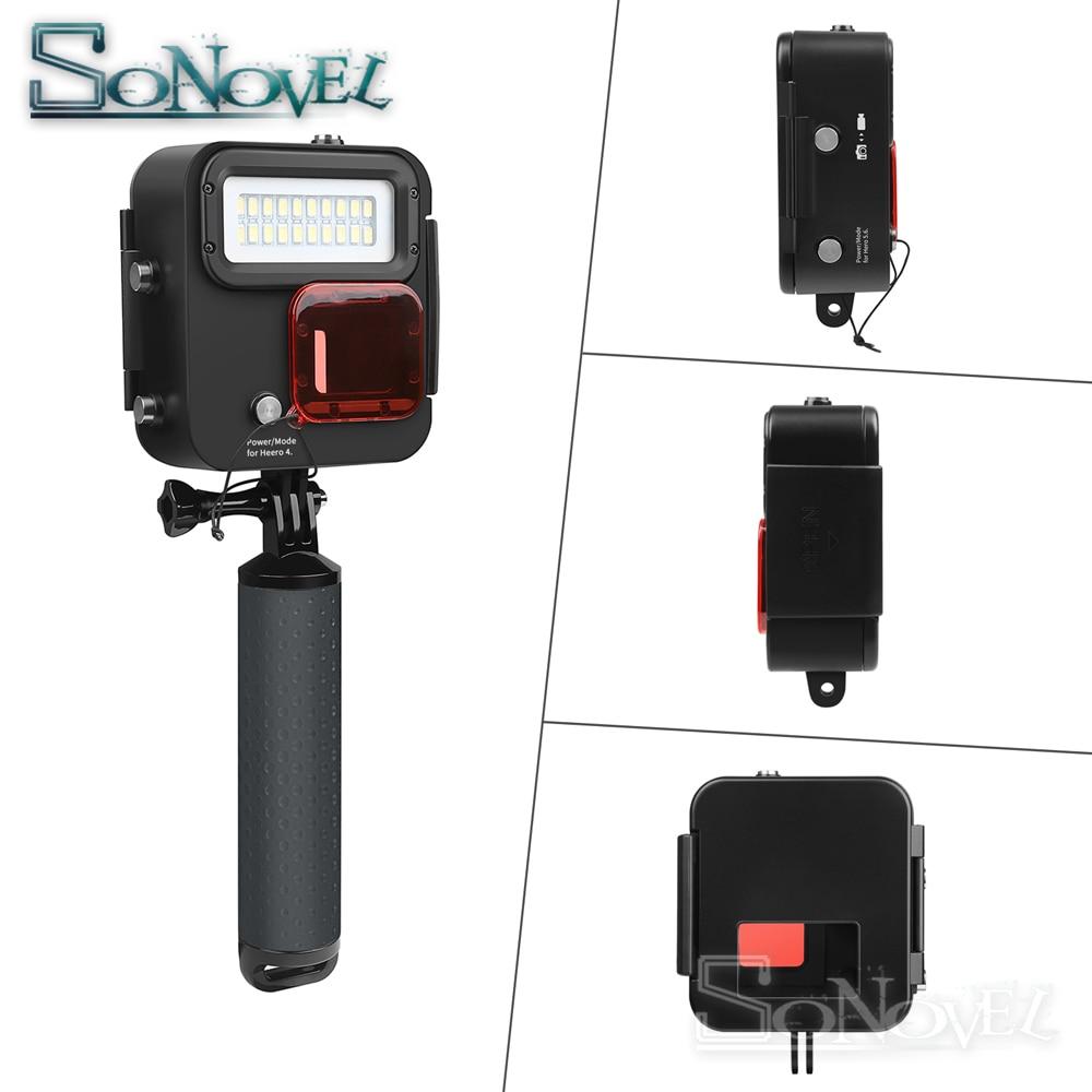 SHOOT 1000LM buceo luz LED funda impermeable para GoPro Hero 7 6 5 negro 4 3 + Cámara de Acción plateada con accesorio para Go Pro 7 6 - 3