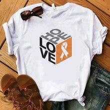 Love Hope Orange Ribbon White T Shirt Women Be Kind Casual Harajuku White Female T-shirt 2019 T Summer Novelty Tee Shirt Femme
