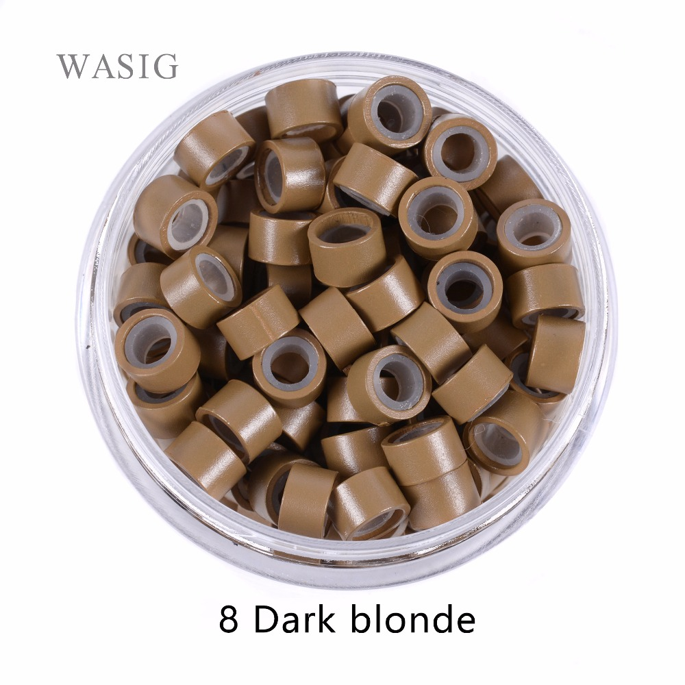 5000pcs 5mm Silicone Lined Micro Rings links beads for I tip hair extension tools 1# black . 9 Colors Optionallink beadmicro ringmicro ring beads -