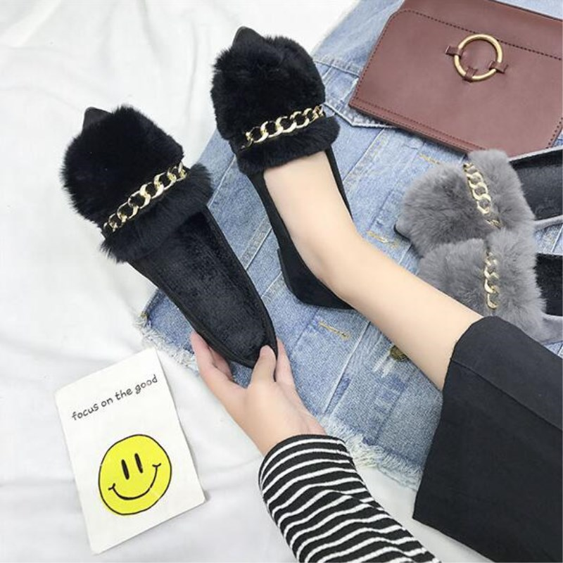 SLHJC 2017 Autumn Flat Heel Shoes Pointed Toe Women Flats With Metal Chain Real Fur Loafers Work Shoes d25 pu pointed toe flats with eyelet strap