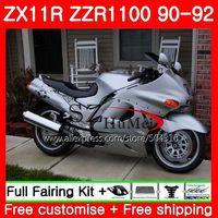 Gloosy SilverBody For KAWASAKI NINJA ZZR1100 ZX 11R ZX 11R ZZR 1100 5SH3 ZX11 ZX11R 90 91 92 ZX 11R 1990 1991 1992 Fairings Kit