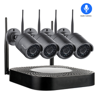Techage 1080 P 4CH Беспроводная ip-камера система Wi-Fi аудио Звук Видео сетевое записывающее устройство в комплекте 2MP наружная безопасность наблюден...