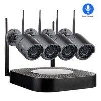 Techage 1080 P 4CH Беспроводной IP камера системы Wi Fi Аудио Звук Видео сетевое записывающее устройство в комплекте 2MP Открытый видеонаблюдения набор