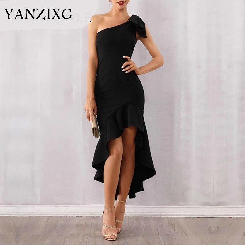 Sexy sans manches femmes robe une épaule taille haute volants Bowknot Slim asymétrique robes femme 2019 mode A402
