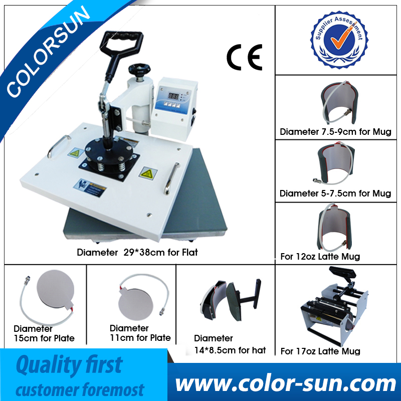 8 в 1 combo сублимации машины жары принтер для печати кружки футболка плиты