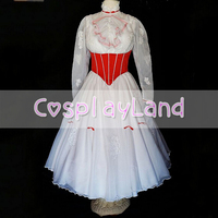 Mary Poppins Cospaly Costume Princess Dress Adult Women Custom Made with Red Satin Corset White Dress Mary Poppins Costumes