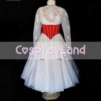 Mary Poppins Cospaly Traje Vestido De Princesa Adultos Mulheres Custom Made com Cetim Vermelho Espartilho Vestido Branco Mary Poppins Trajes