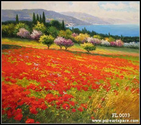 Top quality! Tuscany flower field picture beautiful kinfe oil painting on canvas for home decor wall art No frame