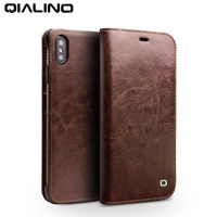QIALINO Luxury Genuine Real Leather Cover for Apple iPhone XS/XR Elegant Style Flip Case with Card Pocket for iPhone XS MAX