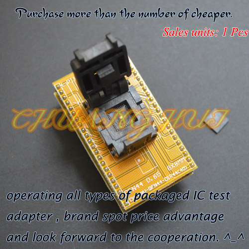 IC TEST QFN44 To DIP44 Programmer Adapter WSON44 DFN44 MLF44 Test Socket (1 Pin On The Left) Pitch=0.65mm Size=8x8mm