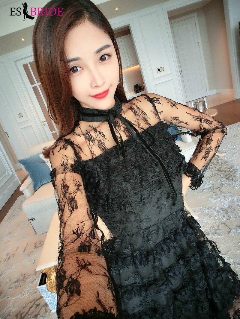 Décontracté Simple robes De soirée longue noir pile-up gâteau Robe De soirée col rond Robe élégante Robe De soirée Robe De soirée ES1890 - 5
